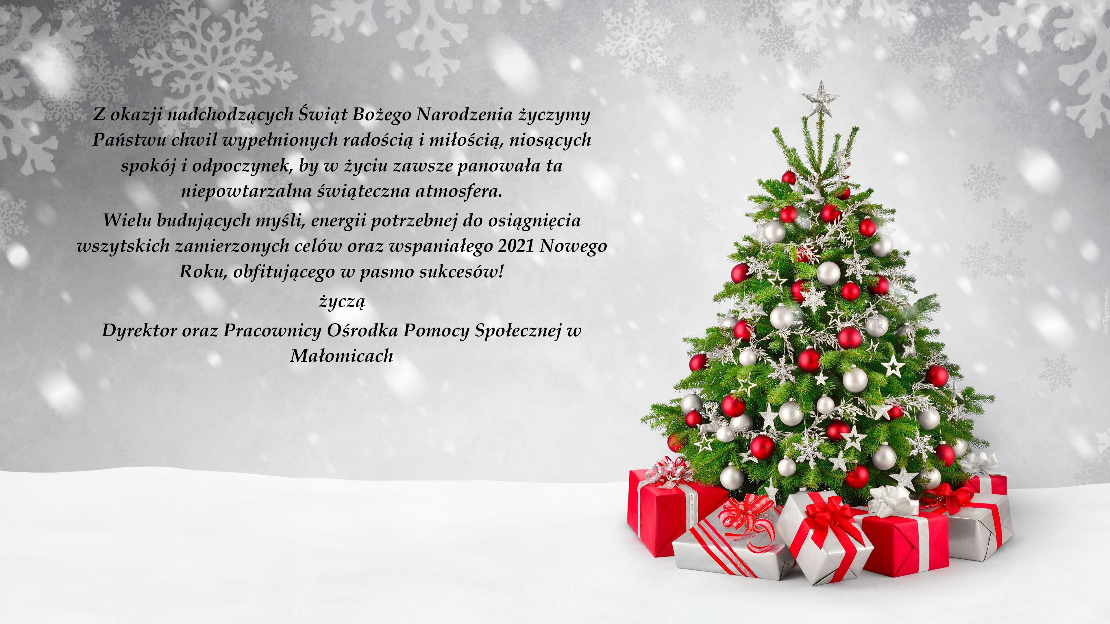 tapeta-graficzna-choinka-z-prezentami-i-platkami-sniegu-w-tle